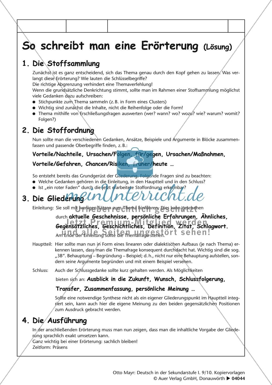 errterung schreiben bersicht zum ausfllen lsungsblatt und satzbausteine preview 1 - Dialektische Erorterung Beispiel Klasse 9