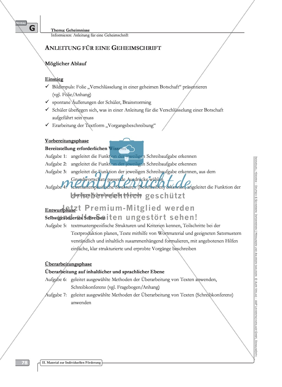 Sprachförderung: Anleitung für eine Geheimschrift: grundlegendes Niveau: Hinweise zum Ablauf, Arbeitsblätter Preview 1