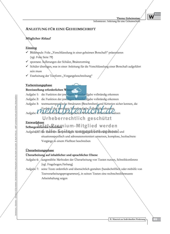 Schreibförderung: Geheimnisse: Anleitung für eine Geheimschrift: Hinweise zum Ablauf,  Arbeitsblätter Preview 11