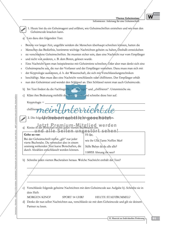 Schreibförderung: Geheimnisse: Anleitung für eine Geheimschrift: Hinweise zum Ablauf,  Arbeitsblätter Preview 13