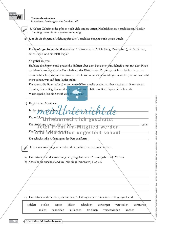 Schreibförderung: Geheimnisse: Anleitung für eine Geheimschrift: Hinweise zum Ablauf,  Arbeitsblätter Preview 14