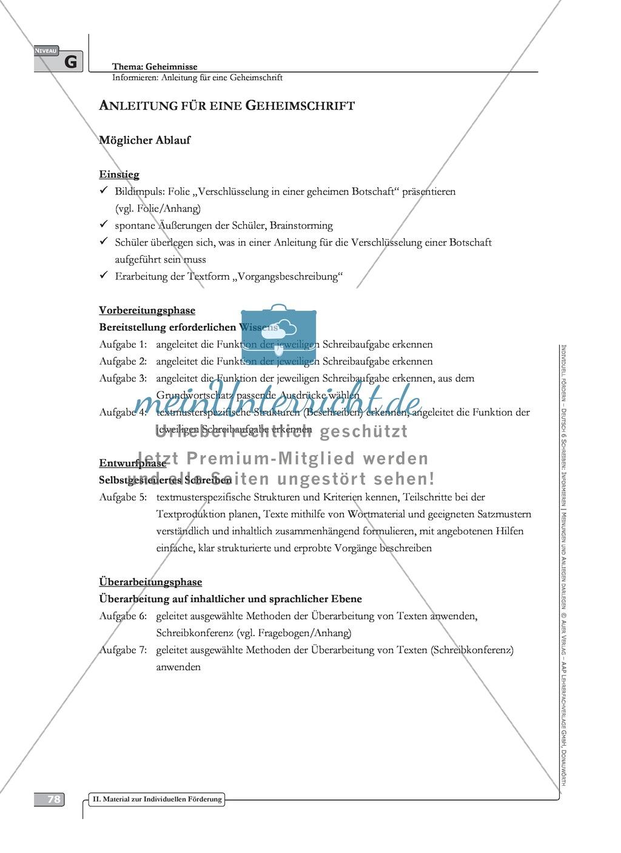 Schreibförderung: Geheimnisse: Anleitung für eine Geheimschrift: Hinweise zum Ablauf,  Arbeitsblätter Preview 0