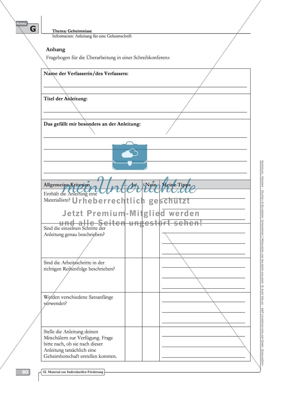 Schreibförderung: Geheimnisse: Anleitung für eine Geheimschrift: Hinweise zum Ablauf,  Arbeitsblätter Preview 2