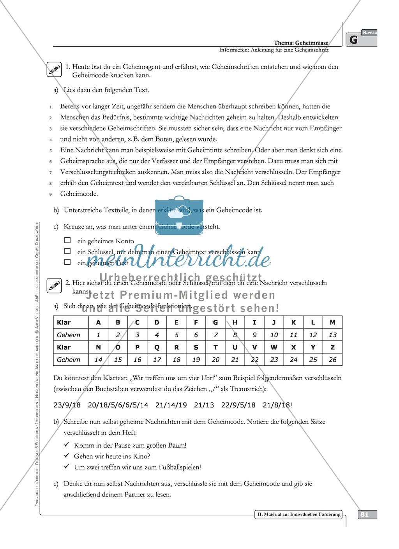 Schreibförderung: Geheimnisse: Anleitung für eine Geheimschrift ...