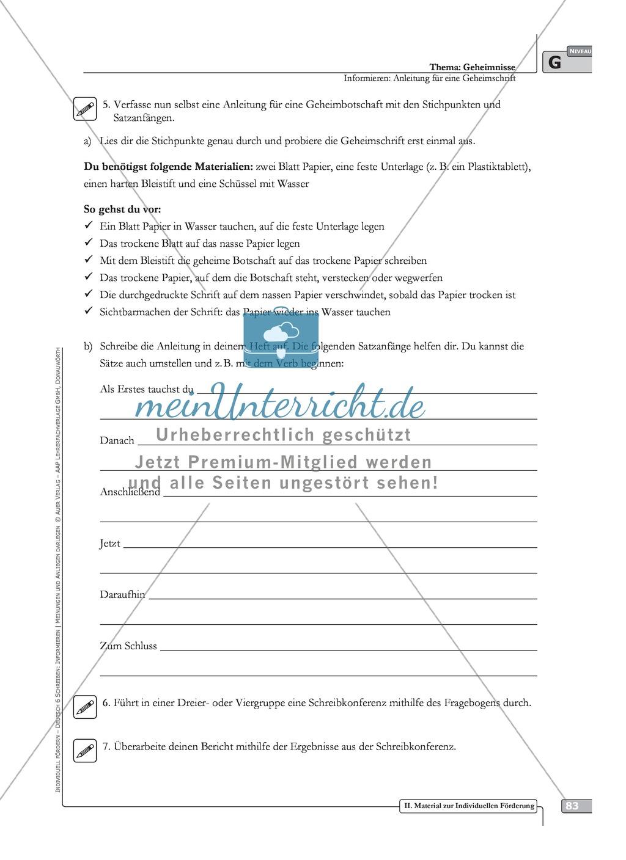 Schreibförderung: Geheimnisse: Anleitung für eine Geheimschrift: Hinweise zum Ablauf,  Arbeitsblätter Preview 5