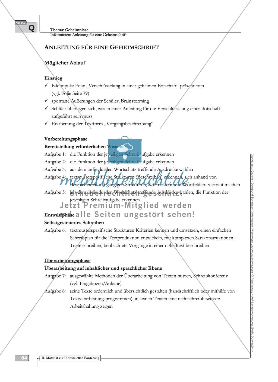 Schreibförderung: Geheimnisse: Anleitung für eine Geheimschrift: Hinweise zum Ablauf,  Arbeitsblätter Preview 6