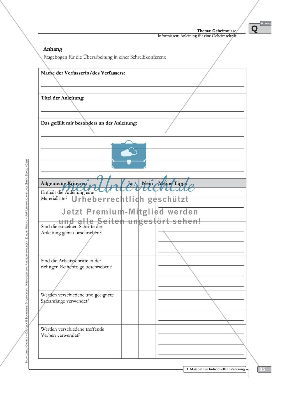 Schreibförderung: Geheimnisse: Anleitung für eine Geheimschrift: Hinweise zum Ablauf,  Arbeitsblätter Preview 7