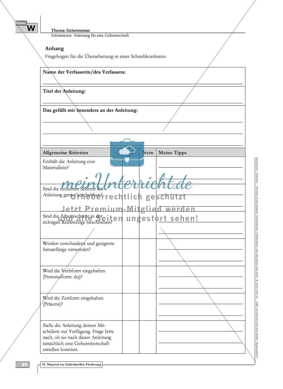 Sprachförderung: Anleitung für eine Geheimschrift: weiterführendes Niveau: Hinweise zum Ablauf, Arbeitsblätter Preview 1