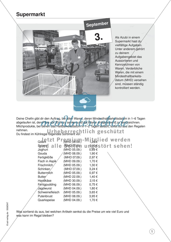 Supermarkt: Aufgaben und Lösungen - meinUnterricht