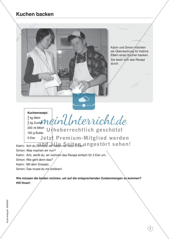 Mathe im Alltag - Einen Kuchen backen: �bungen + Lösung ...