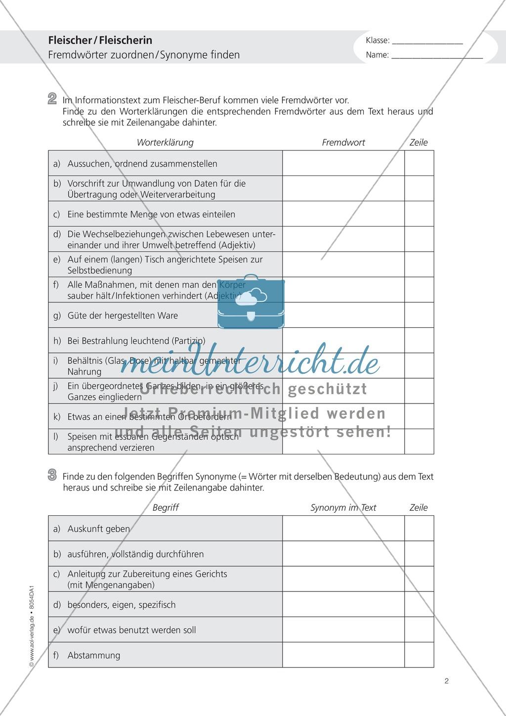 Deutsch-Aufgaben aus dem Berufsalltag - Arbeiten als Fleischer: Übungen und Lösung Preview 1