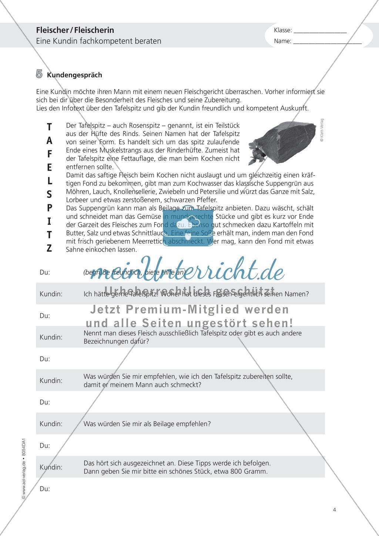 Deutsch-Aufgaben aus dem Berufsalltag - Arbeiten als Fleischer: Übungen und Lösung Preview 3