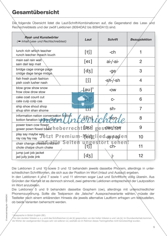 Diphthonge und Konsonanten: Der Rechtschreibtest: Arbeitsbätter und Wortliste Preview 0