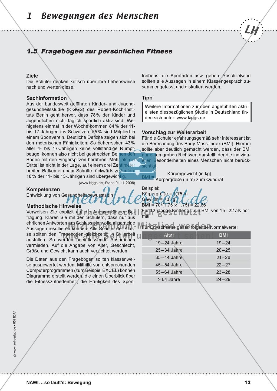 Bewegung - u.a. Fragebogen zur persönlichen Fitness: Lehrerübersicht ...