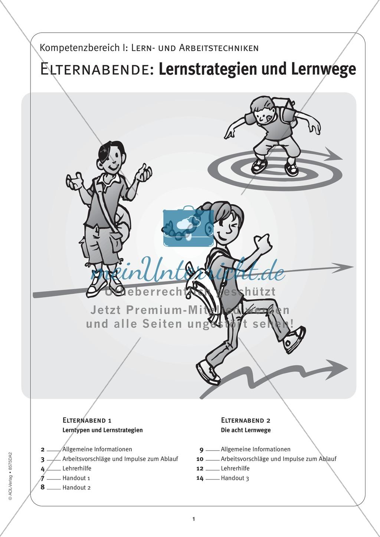 Methodik - Lernstrategien und Lernwege auf Elternabenden vermitteln: Lehrerhandreichung Preview 0