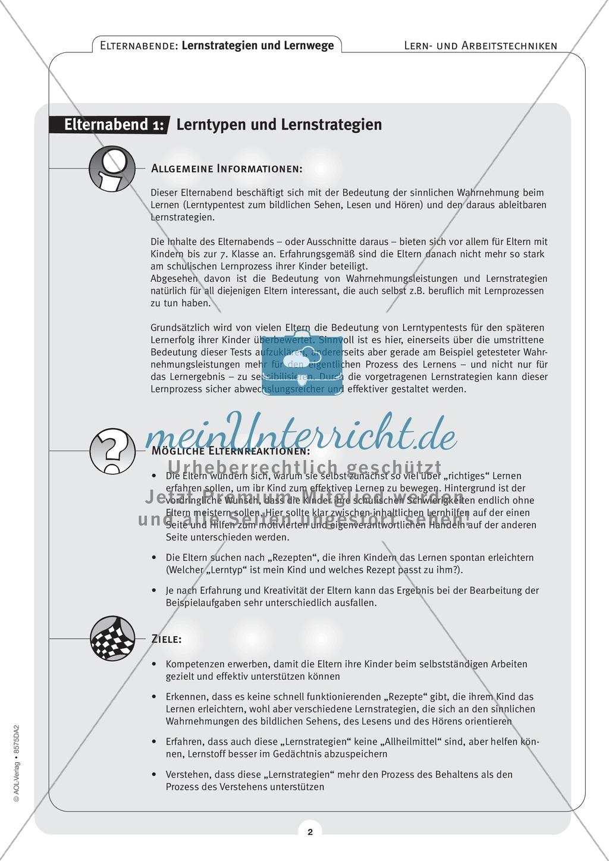 Methodik - Lernstrategien und Lernwege auf Elternabenden vermitteln: Lehrerhandreichung Preview 1