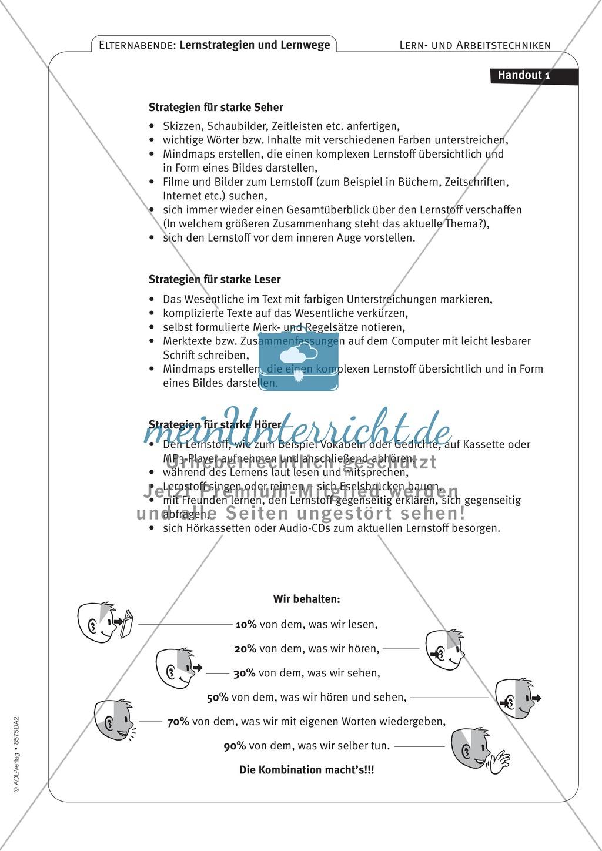Methodik - Lernstrategien und Lernwege auf Elternabenden vermitteln: Lehrerhandreichung Preview 6
