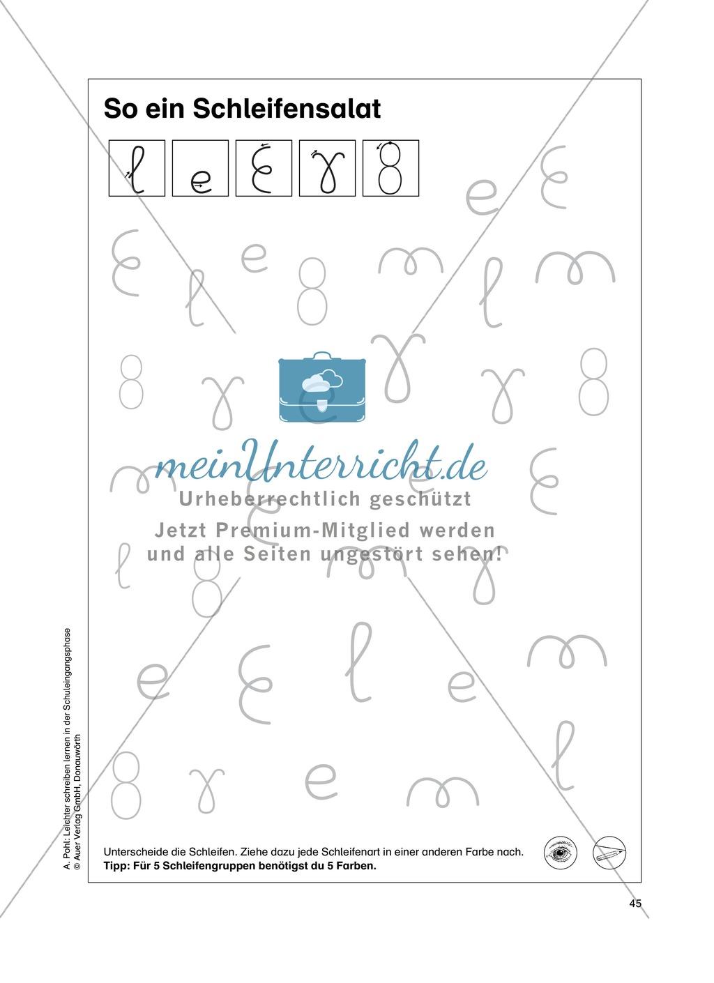 """Feinmotorik und Wahrnehmung: """"Schleifen malen und schreiben"""" - Arbeitsblätter + Übungen Preview 11"""