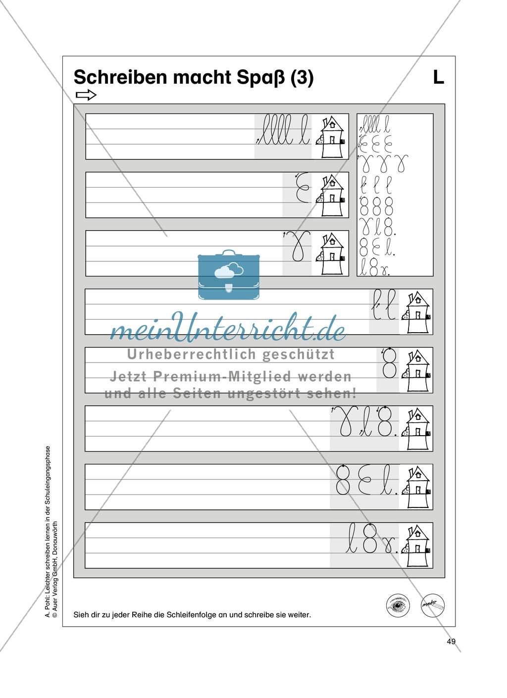 """Feinmotorik und Wahrnehmung: """"Schleifen malen und schreiben"""" - Arbeitsblätter + Übungen Preview 15"""