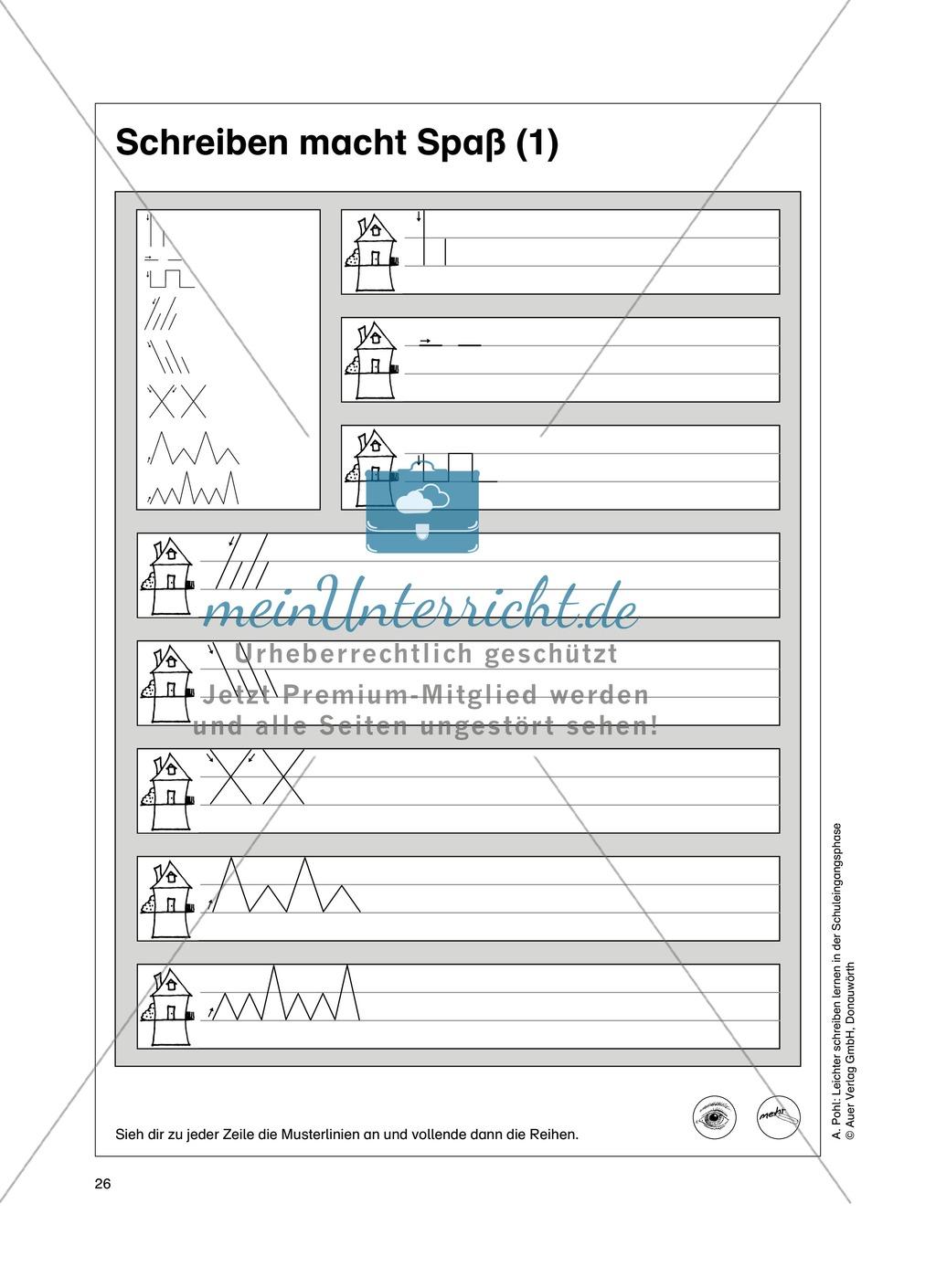 """Feinmotorik und Wahrnehmung: """"Waagrechte - Senkrechte -Schräge Linien malen und schreiben"""" - Arbeitsblätter +Übungen Preview 17"""