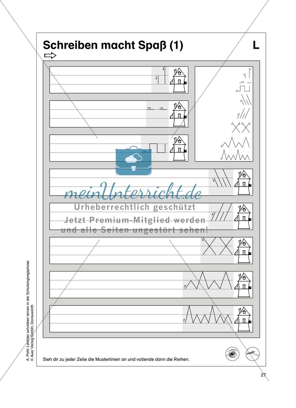 """Feinmotorik und Wahrnehmung: """"Waagrechte - Senkrechte -Schräge Linien malen und schreiben"""" - Arbeitsblätter +Übungen Preview 18"""