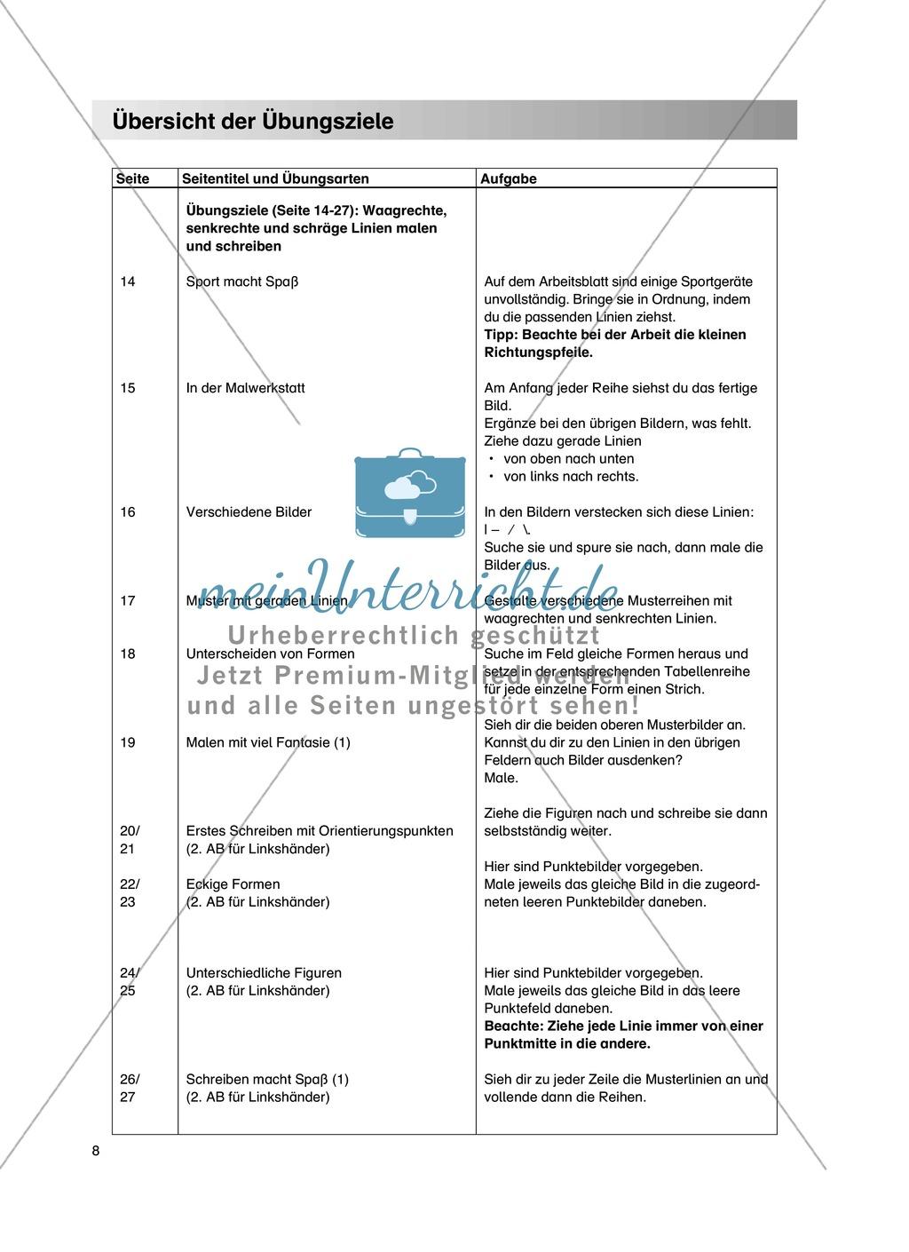 """Feinmotorik und Wahrnehmung: """"Waagrechte - Senkrechte -Schräge Linien malen und schreiben"""" - Arbeitsblätter +Übungen Preview 4"""
