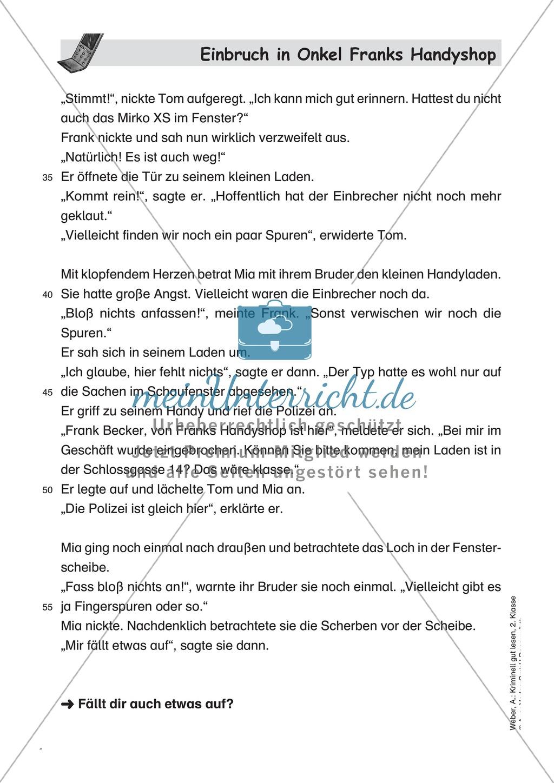 Leseförderung Einbruch in Onkel Franks Handyshop: Text, Arbeitsblätter und Lösungen Preview 1