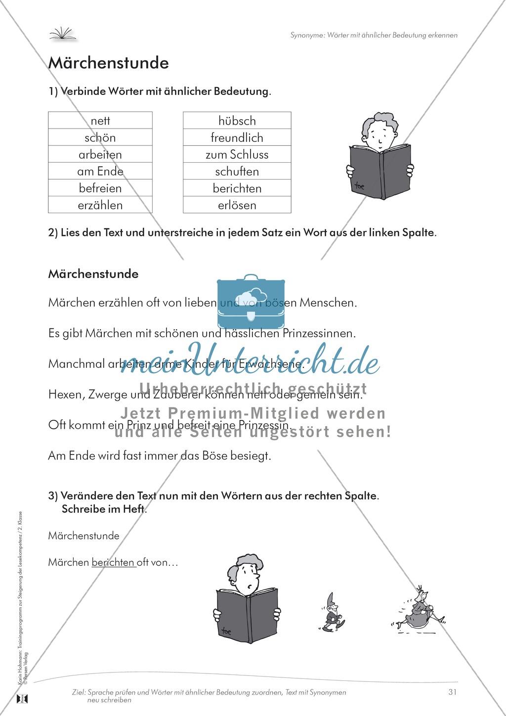 Lesekompetenz: Synonyme: Wörter mit ähnlicher Bedeutung finden: Arbeitsblätter und Lösungen Preview 0