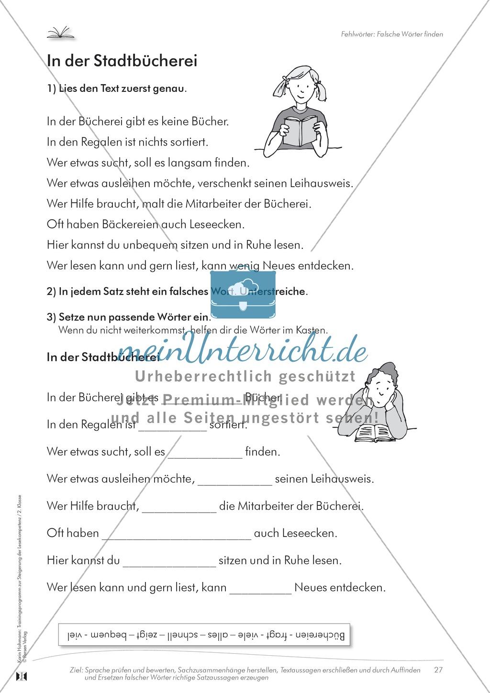 Lesekompetenz: Falsche Wörter finden und ersetzen: Arbeitsblätter und Lösungen Preview 3