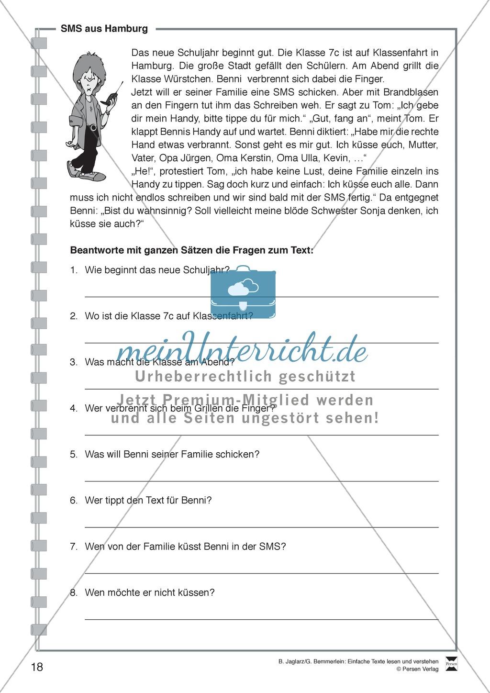 SMS aus Hamburg: Lesetext, Arbeitsblätter und Lösungen Preview 0