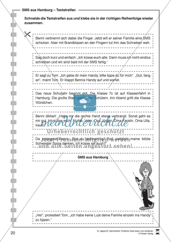 SMS aus Hamburg: Lesetext, Arbeitsblätter und Lösungen Preview 2