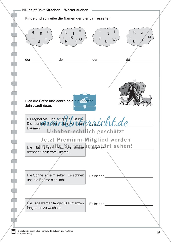Niklas pflückt Kirschen: Lesetext, Arbeitsblätter und Lösungen Preview 3