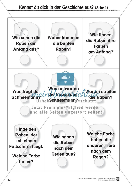 """Lesen - Schreiben - Sprechen: """" Als die Raben (...) """" Lesekarten + Arbeitsblätter zur Sprachförderung Preview 29"""