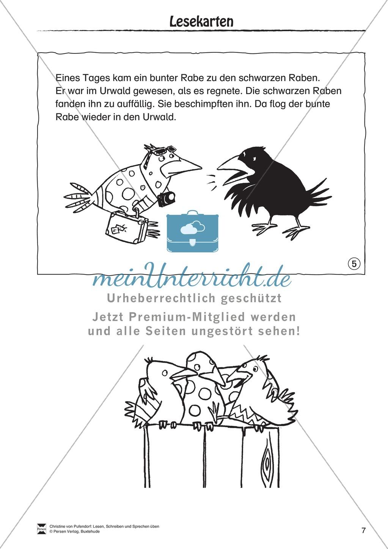"""Lesen - Schreiben - Sprechen: """" Als die Raben (...) """" Lesekarten + Arbeitsblätter zur Sprachförderung Preview 4"""