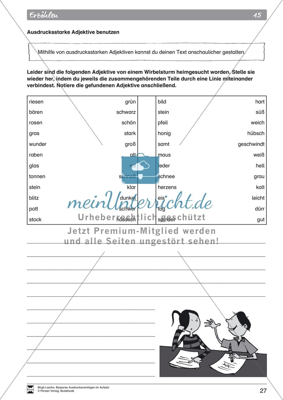 """Sprachstil -Grammatik - Ausdrucksvermögen verbessern: """"Erzählen"""" - Binnendifferenzierung + Arbeitsblätter + Aufgaben + Lösungen Preview 17"""