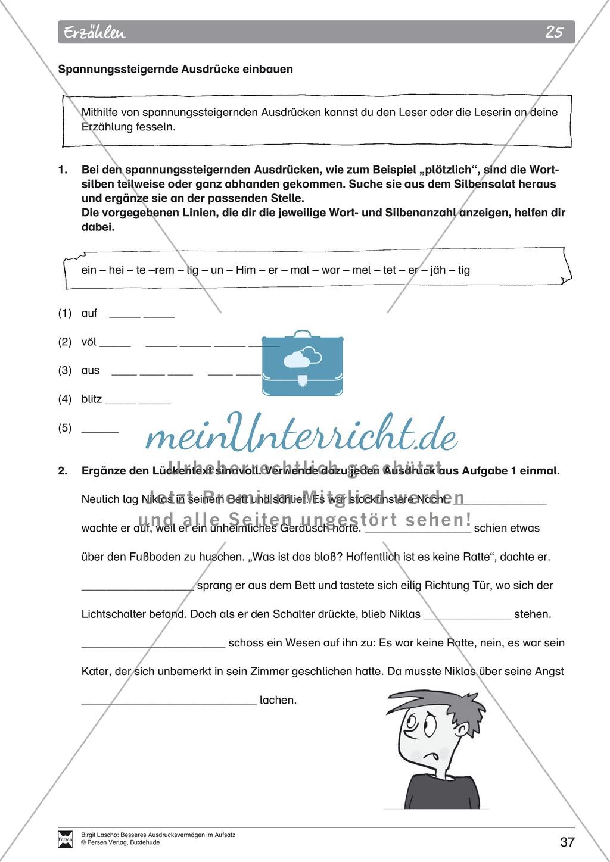 """Sprachstil -Grammatik - Ausdrucksvermögen verbessern: """"Erzählen"""" - Binnendifferenzierung + Arbeitsblätter + Aufgaben + Lösungen Preview 27"""