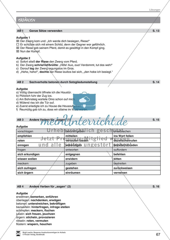 """Sprachstil -Grammatik - Ausdrucksvermögen verbessern: """"Erzählen"""" - Binnendifferenzierung + Arbeitsblätter + Aufgaben + Lösungen Preview 28"""