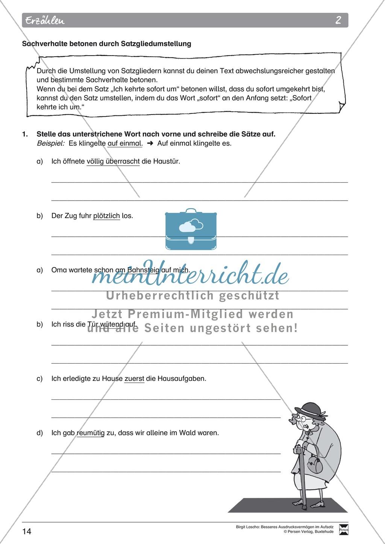 """Sprachstil -Grammatik - Ausdrucksvermögen verbessern: """"Erzählen"""" - Binnendifferenzierung + Arbeitsblätter + Aufgaben + Lösungen Preview 4"""