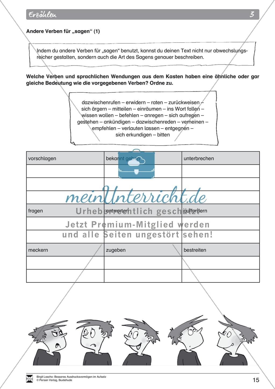 """Sprachstil -Grammatik - Ausdrucksvermögen verbessern: """"Erzählen"""" - Binnendifferenzierung + Arbeitsblätter + Aufgaben + Lösungen Preview 5"""