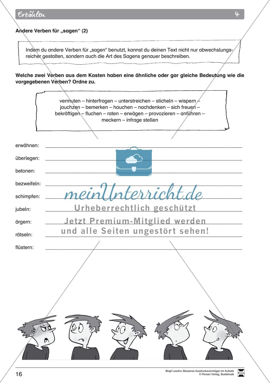 """Sprachstil -Grammatik - Ausdrucksvermögen verbessern: """"Erzählen"""" - Binnendifferenzierung + Arbeitsblätter + Aufgaben + Lösungen Preview 6"""