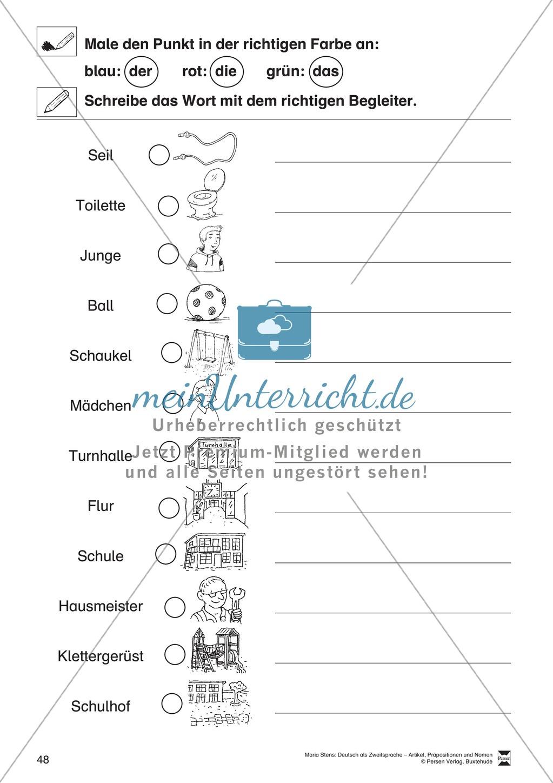 Arbeitsblätter Zu Präpositionen : Artikel präpositionen und nomen Übungen rund um die