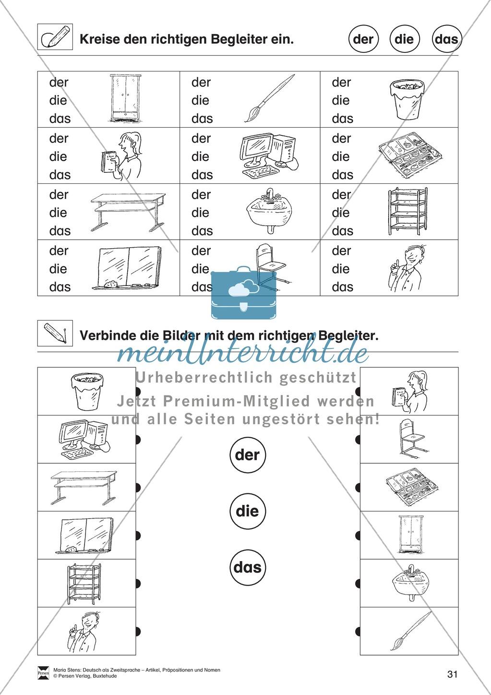 Artikel, Präpositionen und Nomen: Übungen rund um die Klasse ...