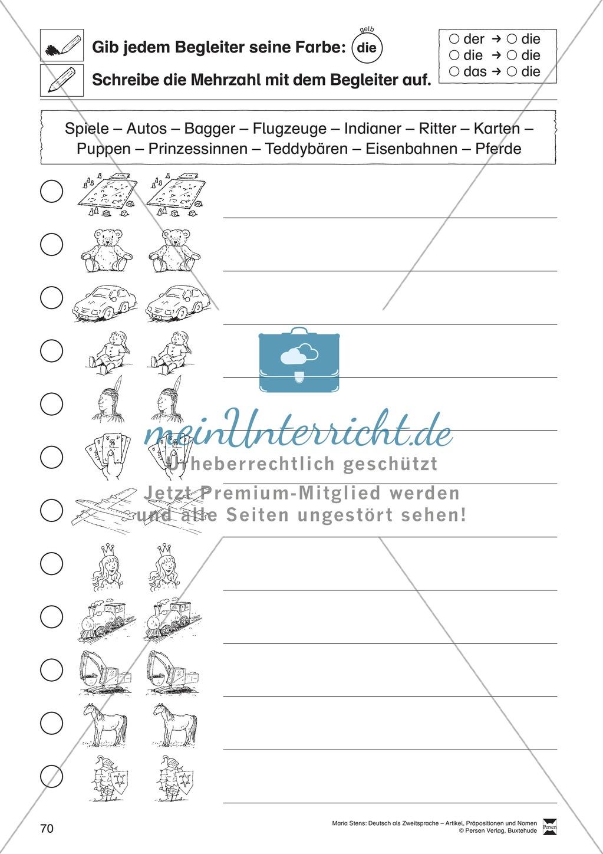 Arbeitsblätter Zu Präpositionen : Artikel präpositionen und nomen Übungen zu spiel