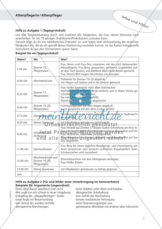 Beruf Altenpfleger:Tagesprotokoll schreiben + Planung Preview 1