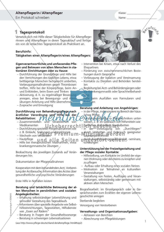 Die Arbeit in der Altenpflege: Deutsch-Aufgaben aus dem Berufsalltag Preview 0