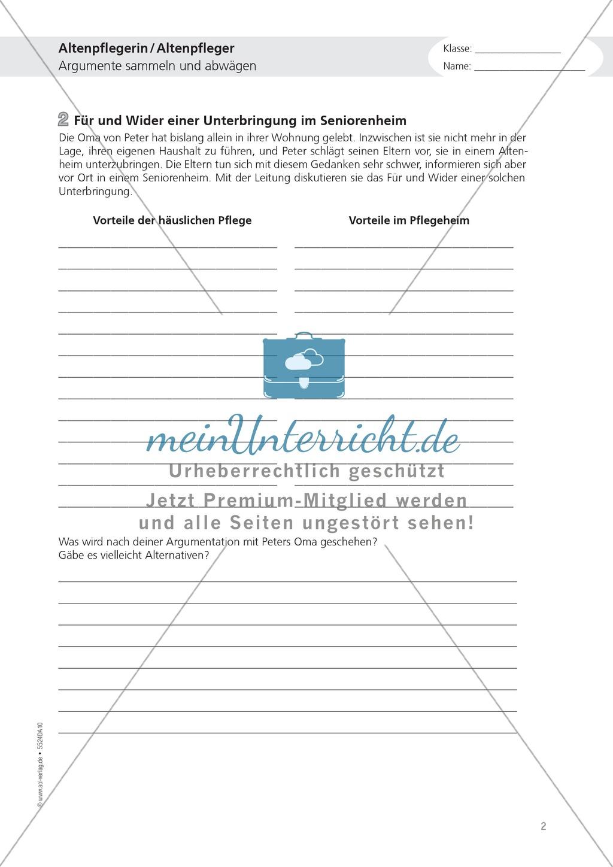 Die Arbeit in der Altenpflege: Deutsch-Aufgaben aus dem Berufsalltag ...