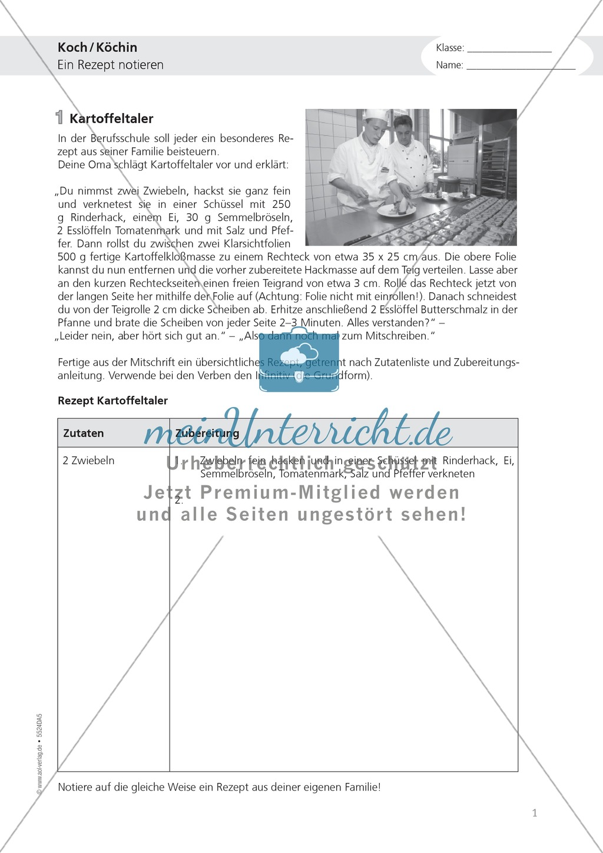 Berufe - Koch und Köchin: Rezept notieren - Text + Aufgabe Preview 0