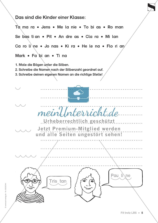 """Lese - Rechtschreibschwäche (LRS) - Schwingen - Einführung: """"Silben und Selbstlaute"""" - Aufgaben Preview 2"""
