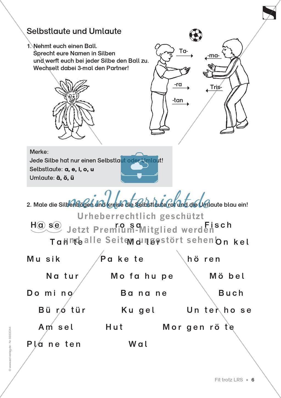 """Lese - Rechtschreibschwäche (LRS) - Schwingen - Einführung: """"Silben und Selbstlaute"""" - Aufgaben Preview 3"""