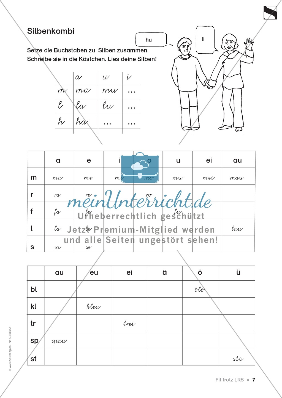 """Lese - Rechtschreibschwäche (LRS) - Schwingen - Einführung: """"Silben und Selbstlaute"""" - Aufgaben Preview 4"""
